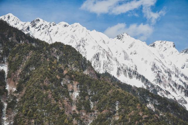 上高地から見る冬の西穂高稜線の写真