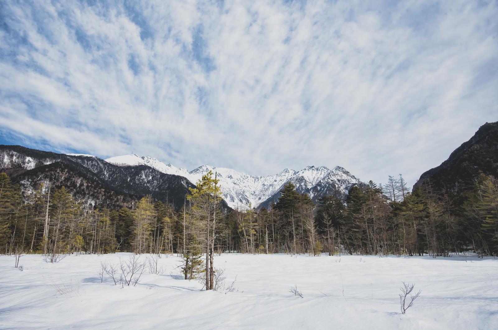 「上高地に広がる雪原と広い空(長野県)」の写真
