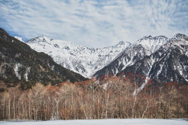 上高地の森から見る穂高連峰(北アルプス)の写真