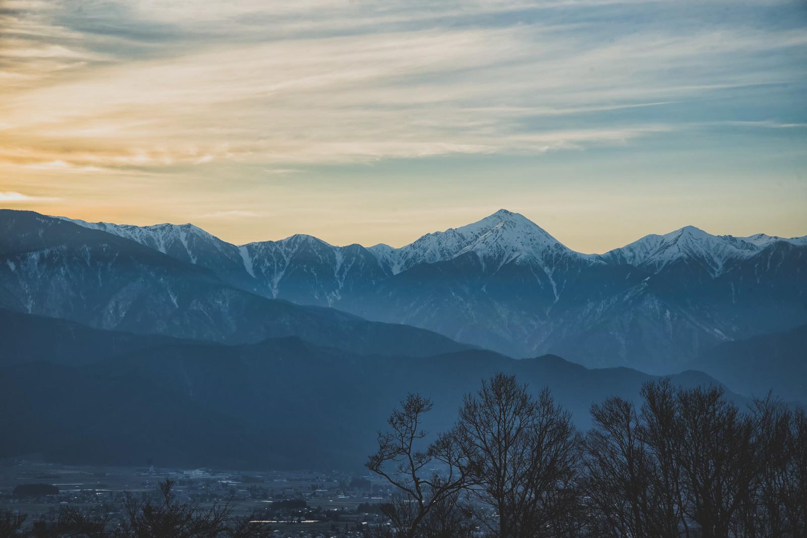 「城山公園から見る夕焼け」の写真