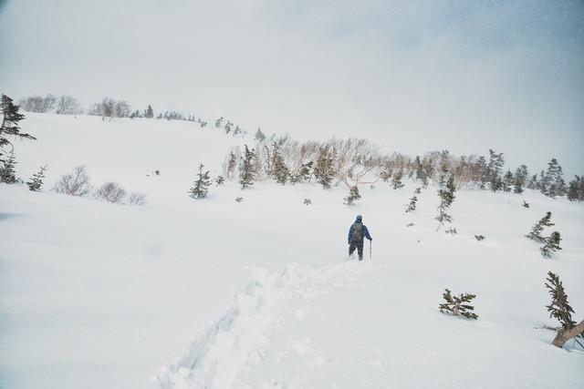 雪深い雪原を進む登山者の写真