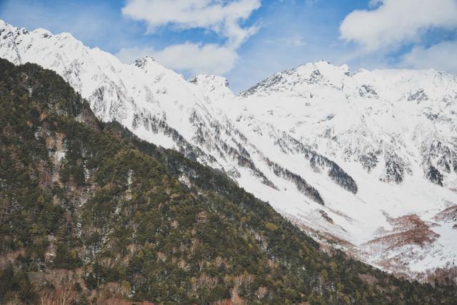 上高地から見る西穂高岳の稜線の写真