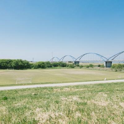 「渡良瀬川の河川敷(サッカー場)」の写真素材