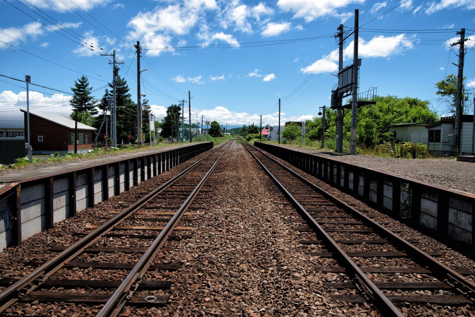 「JR富良野線のホームと千代ヶ岡駅舎から続く線路」の写真