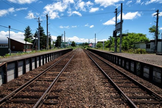 JR富良野線のホームと千代ヶ岡駅舎から続く線路の写真