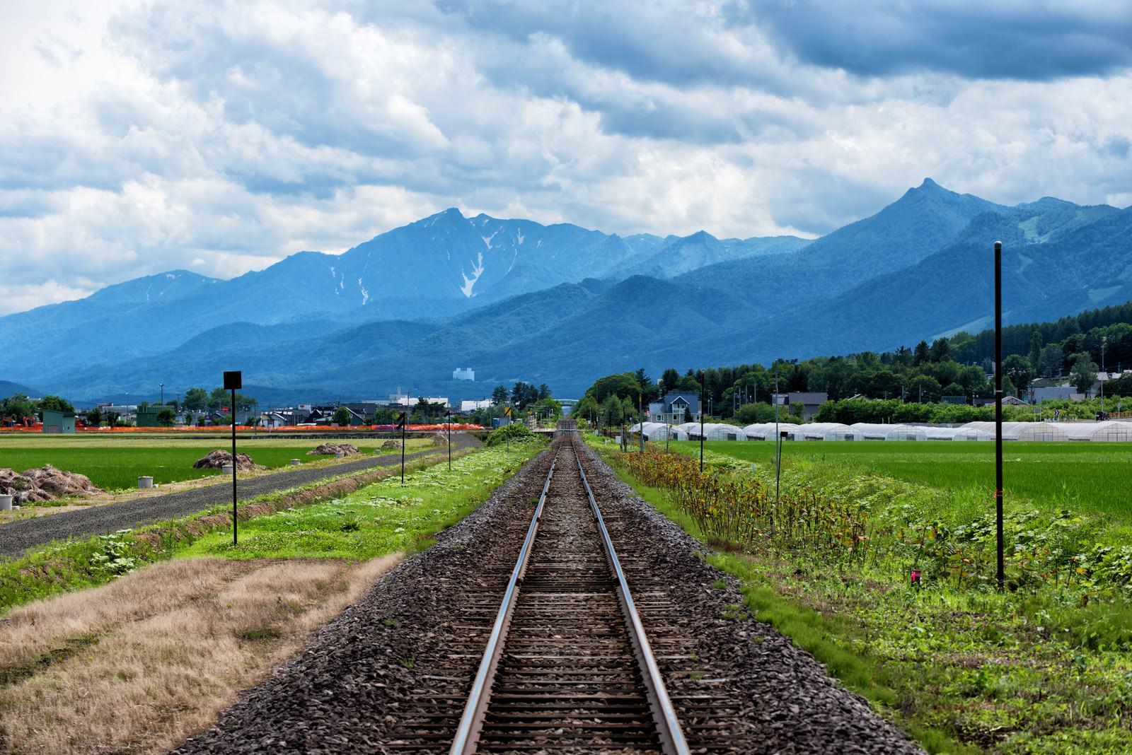 「JR富良野線の果てしなく続く線路」の写真