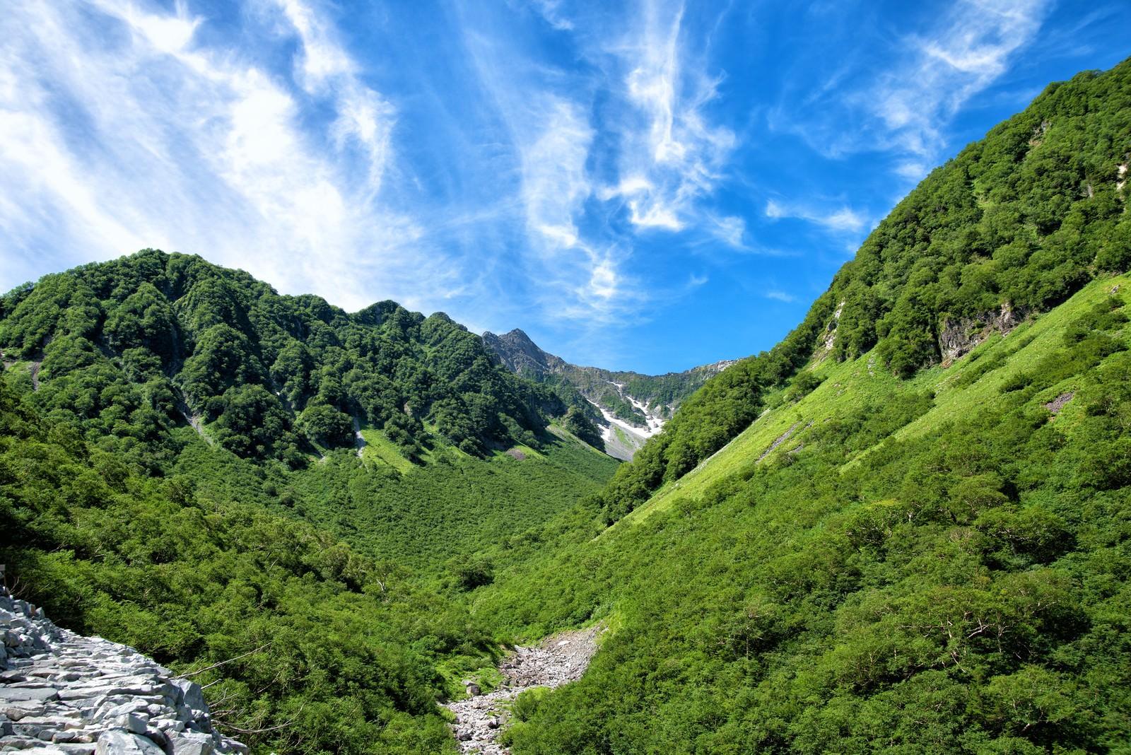 「新緑溢れる山間からかすかに見える涸沢カール」の写真