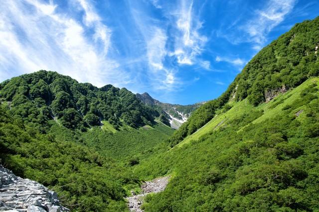 新緑溢れる山間からかすかに見える涸沢カールの写真