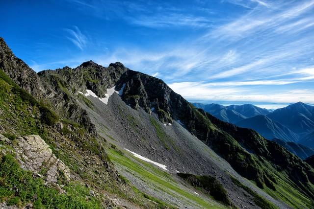 ザイテングラードから望む北穂高岳の写真