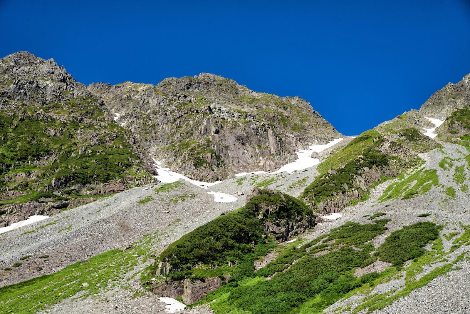 「ザイテングラードの岩尾根から見える青空」の写真