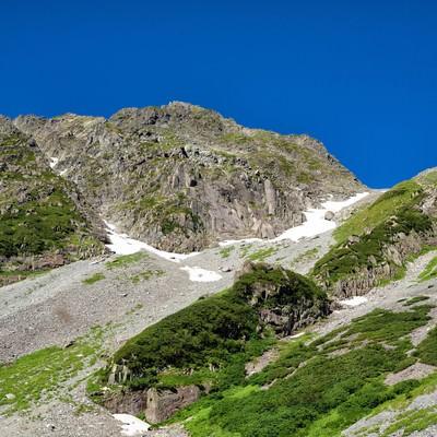 ザイテングラードの岩尾根から見える青空の写真