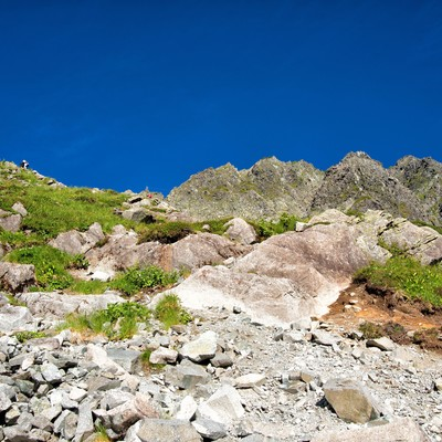 ザイテングラードの登山道にある岩肌の写真