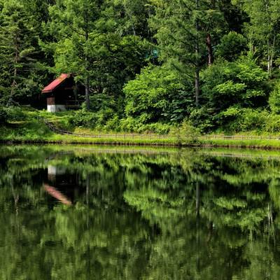タカソメキャンプ場のロッジが水面に写る風景の写真