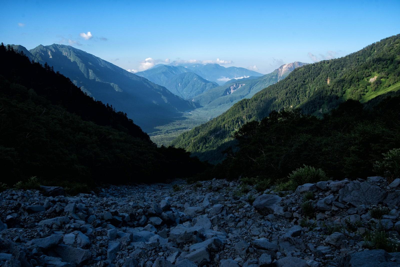 「上高地につながる岳沢の登山道」の写真