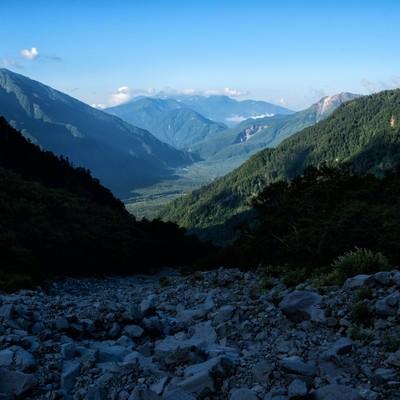 上高地につながる岳沢の登山道の写真