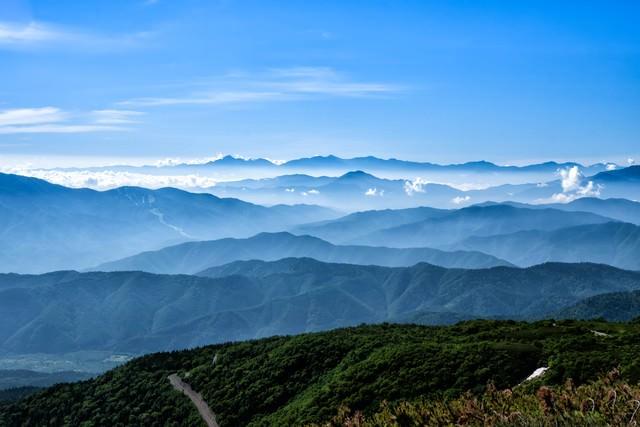 乗鞍スカイラインと連峰の織り成す大パノラマの写真