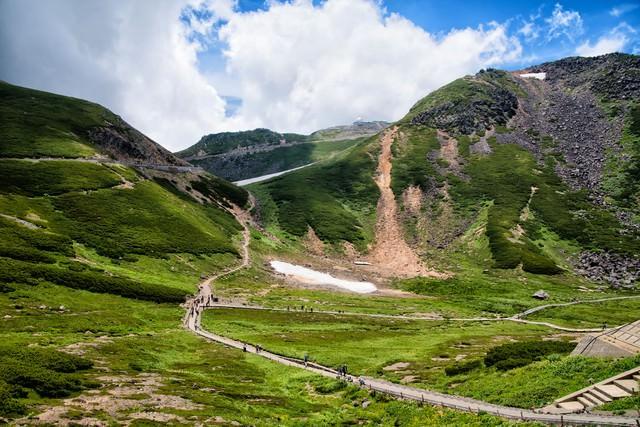 乗鞍バスターミナル前の登山道の写真