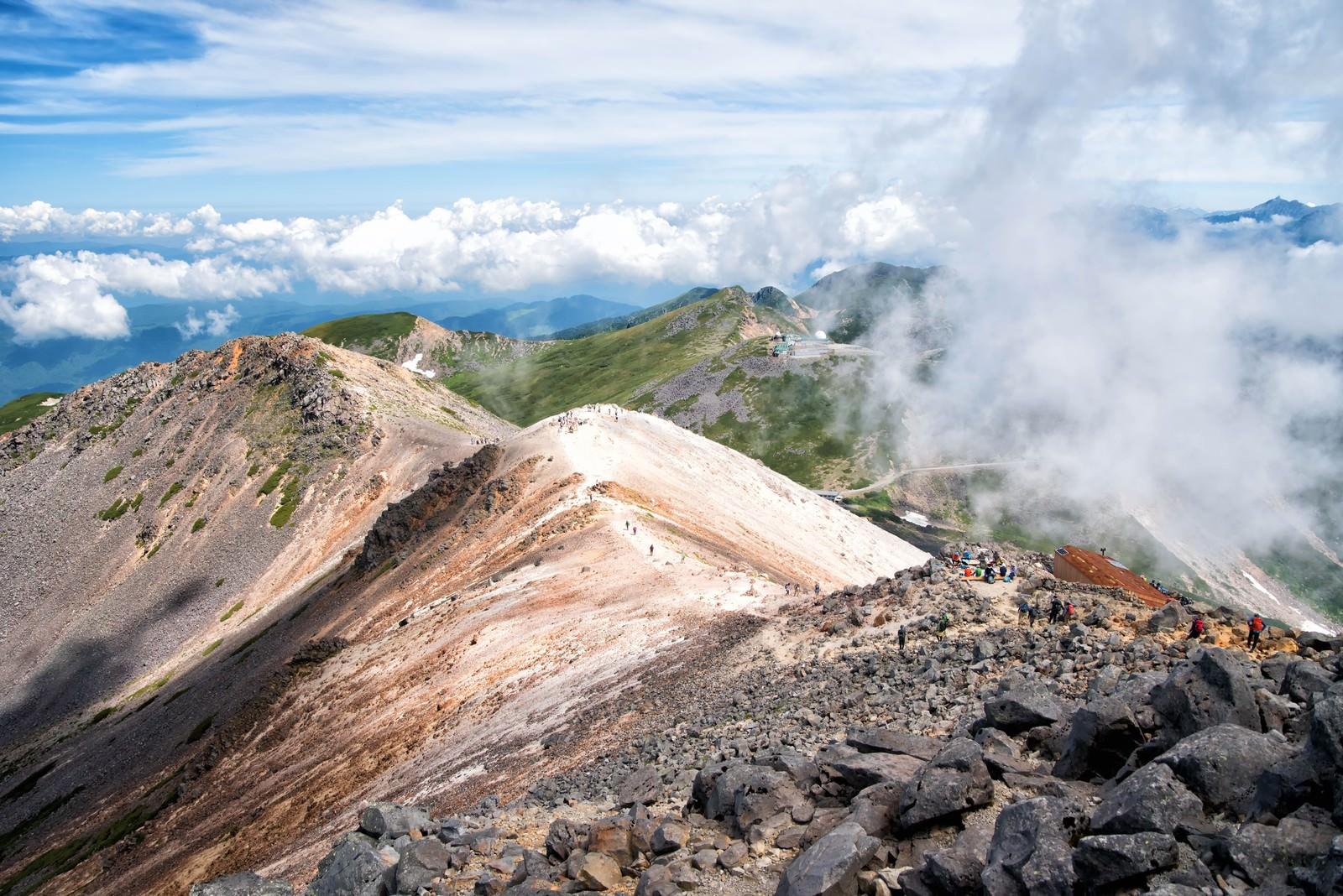 「乗鞍剣ヶ峰への登山道から見える風景」の写真