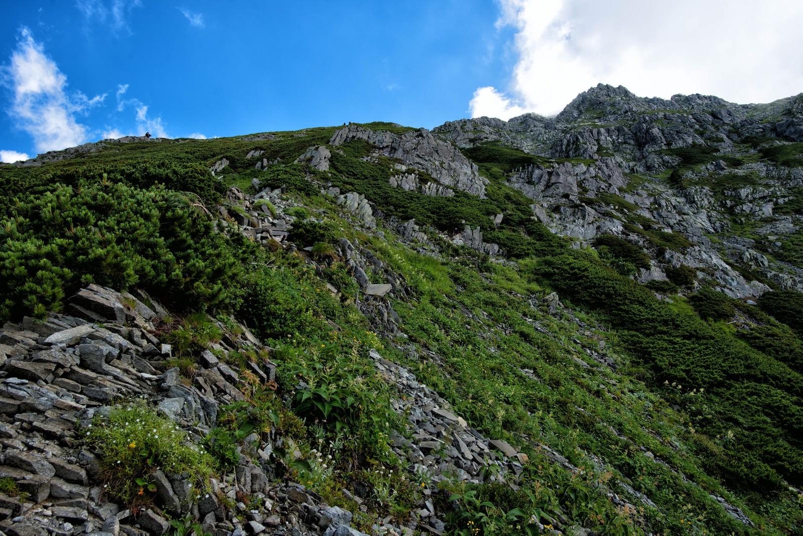 「急峻な登山道に聳え立つ前穂高岳」の写真