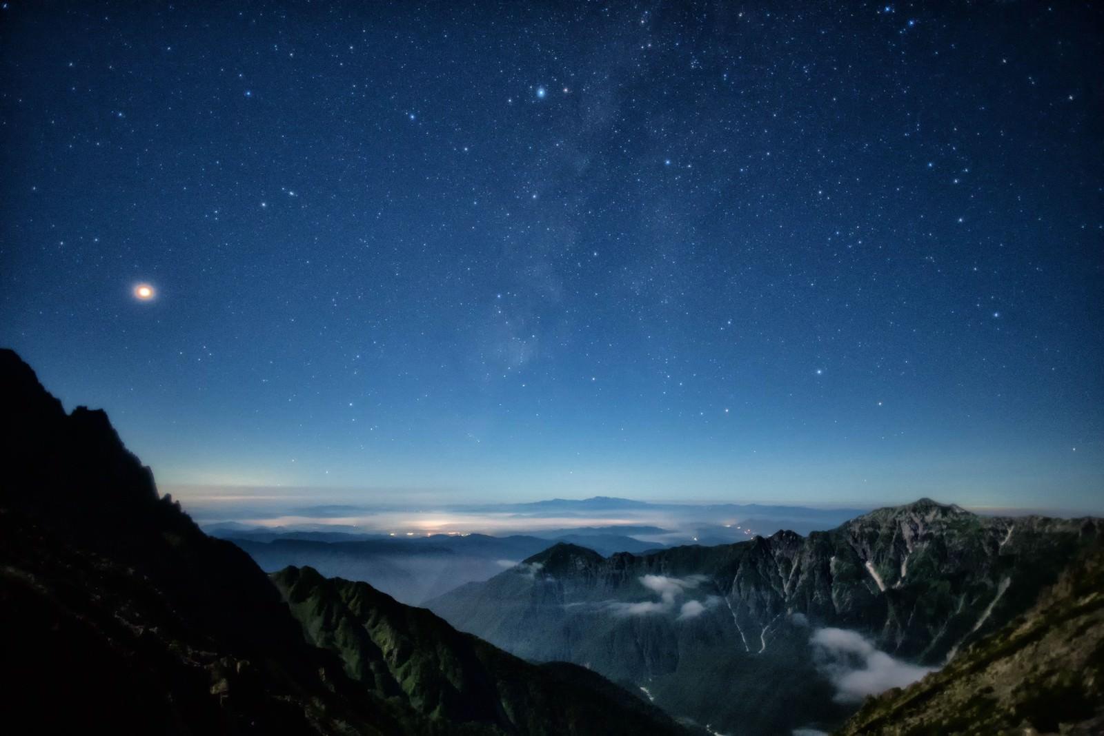 「北アルプスから見る天の川」の写真