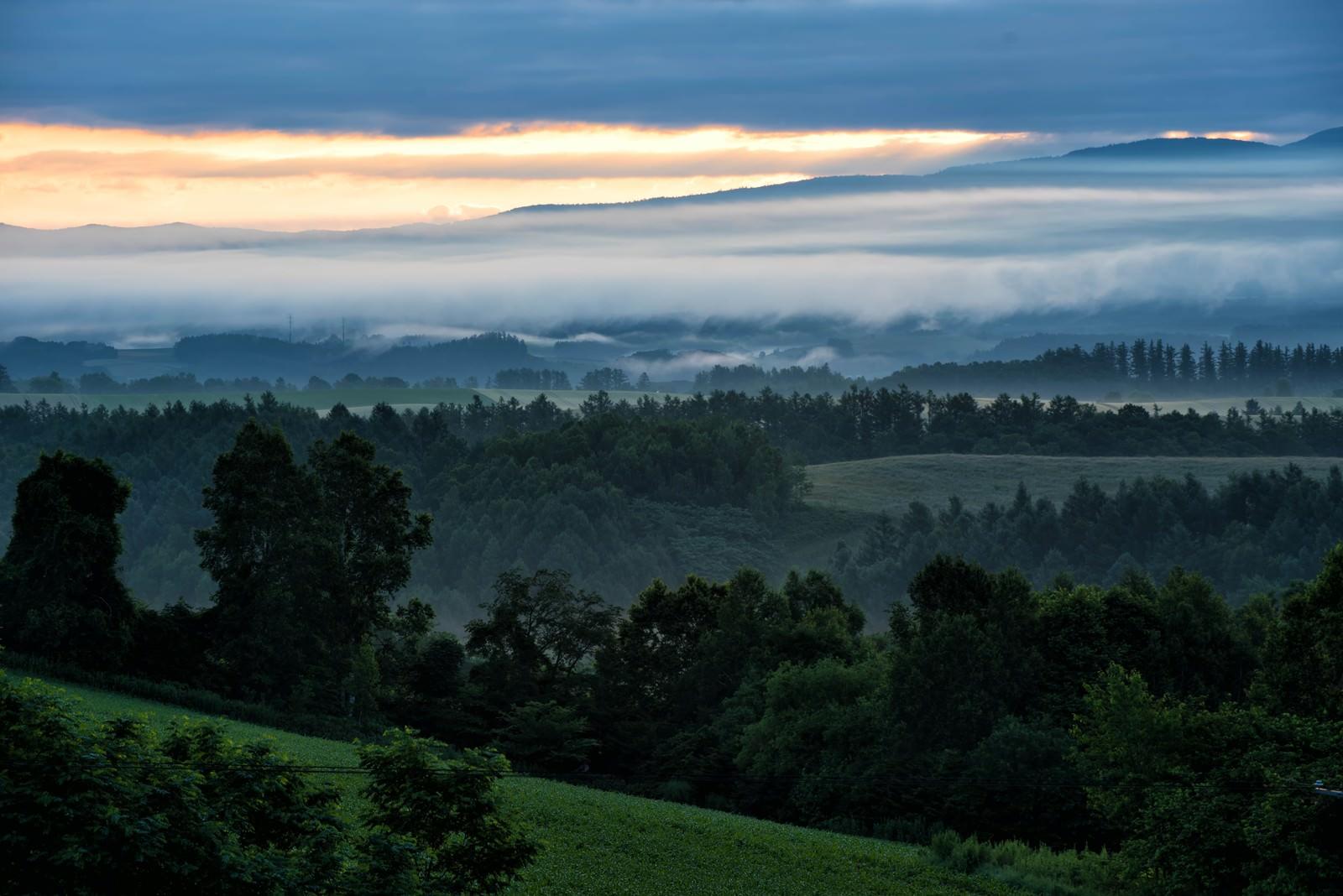 「北海道の高台から見る朝焼けと靄」の写真