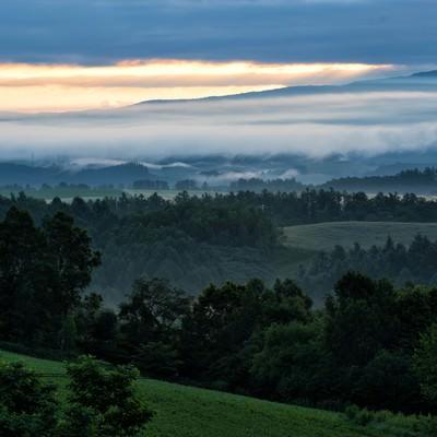 北海道の高台から見る朝焼けと靄の写真