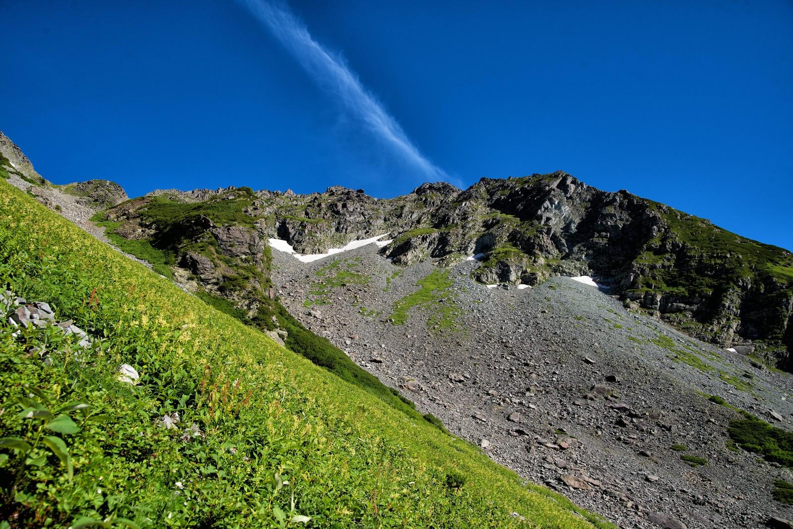 「北穂高岳の岩壁に見える青空」の写真