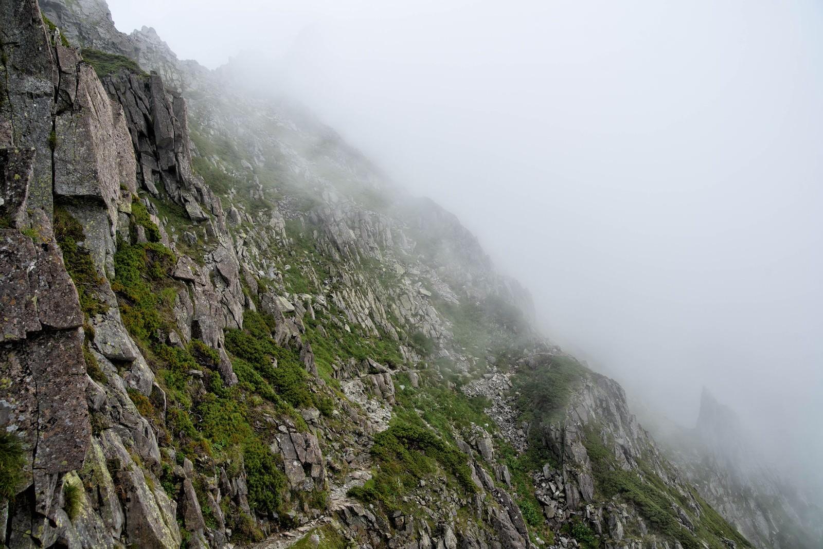 「霧がたちこめる吊尾根のトラバース道」の写真