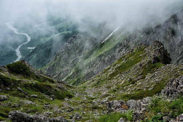 霧たちこめる吊尾根の稜線の写真