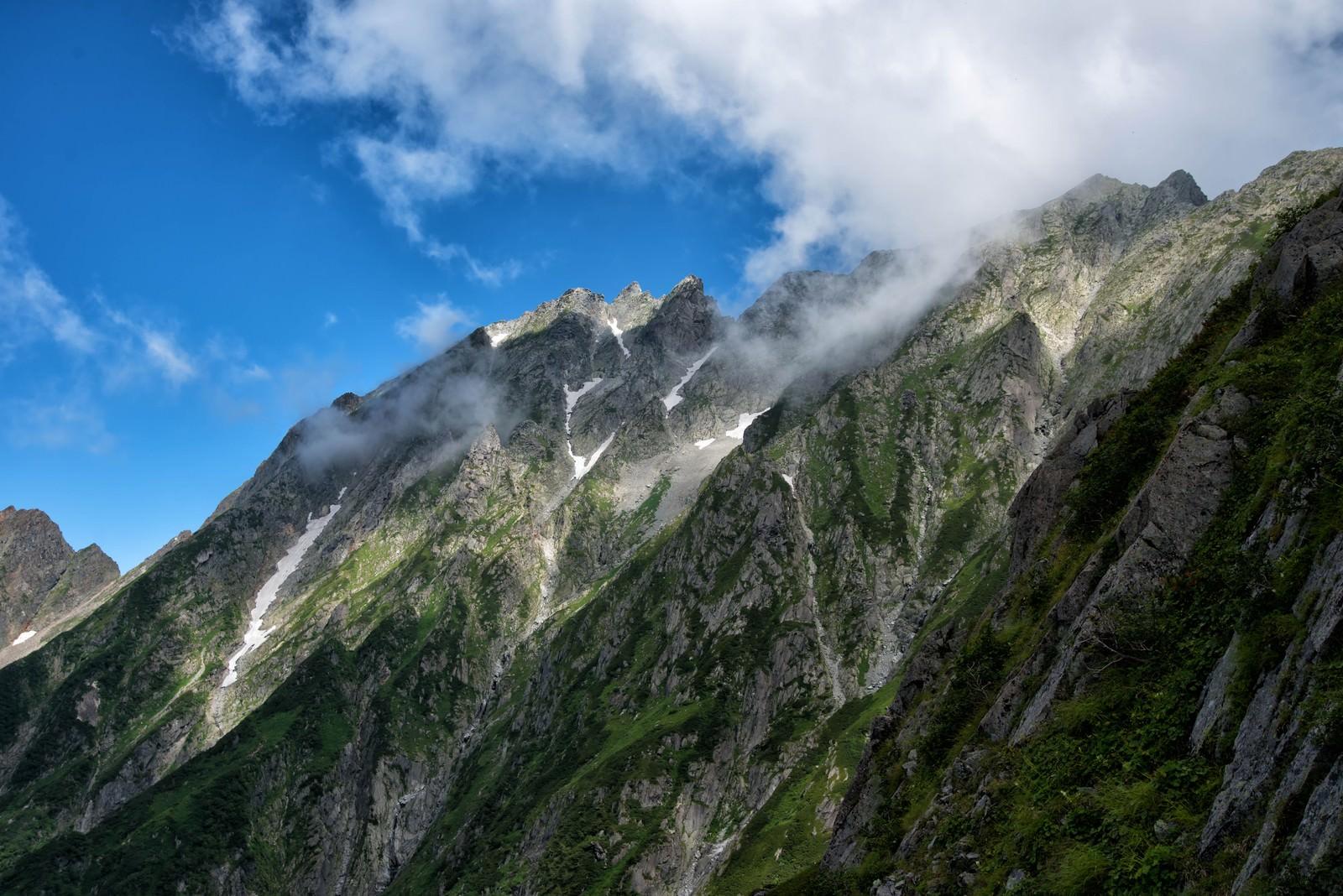 「断崖絶壁の吊尾根」の写真
