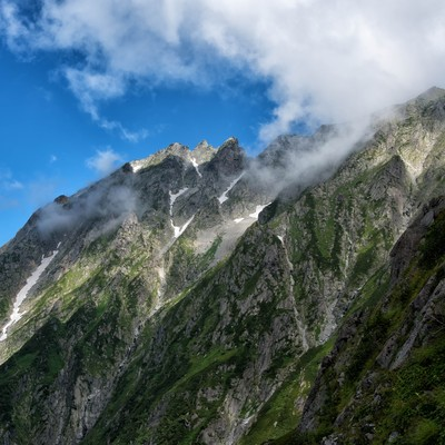 断崖絶壁の吊尾根の写真