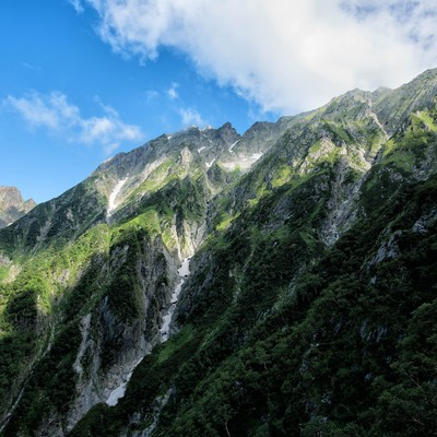 穂高岳の岩壁に映る雲の陰の写真