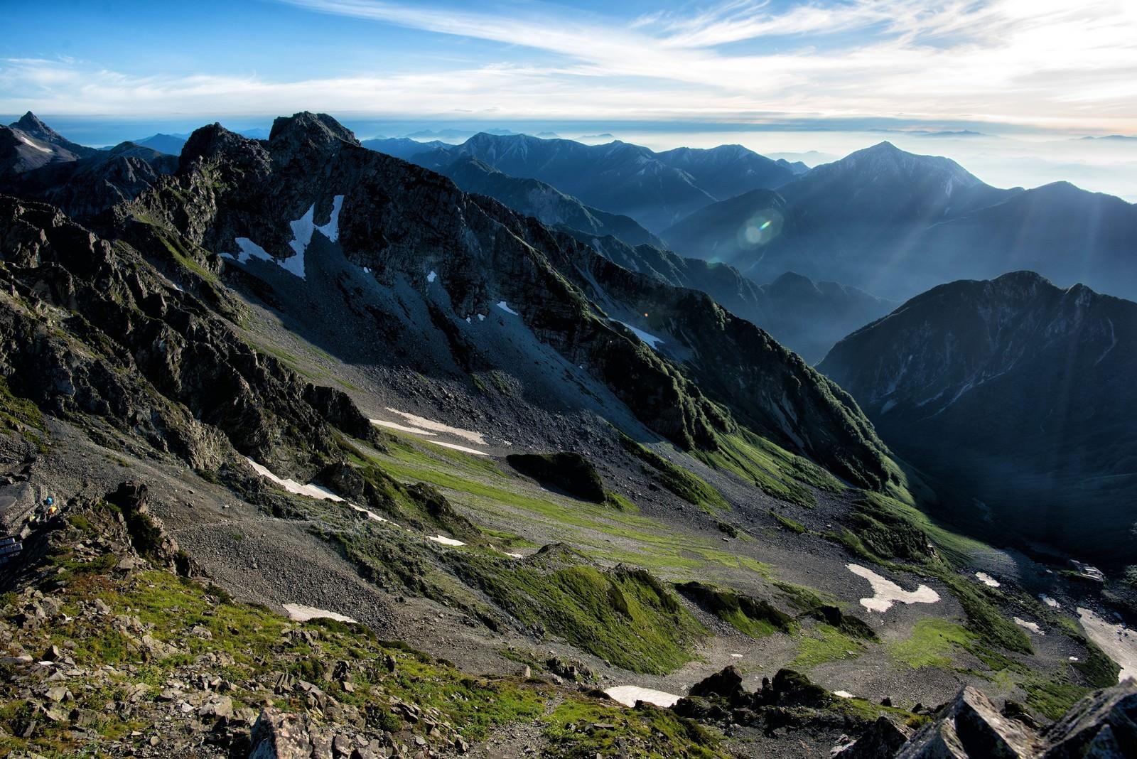 「奥穂高岳の山頂から望む涸沢カール」の写真