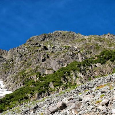 奥穂高岳に立ちはだかる岩壁の写真