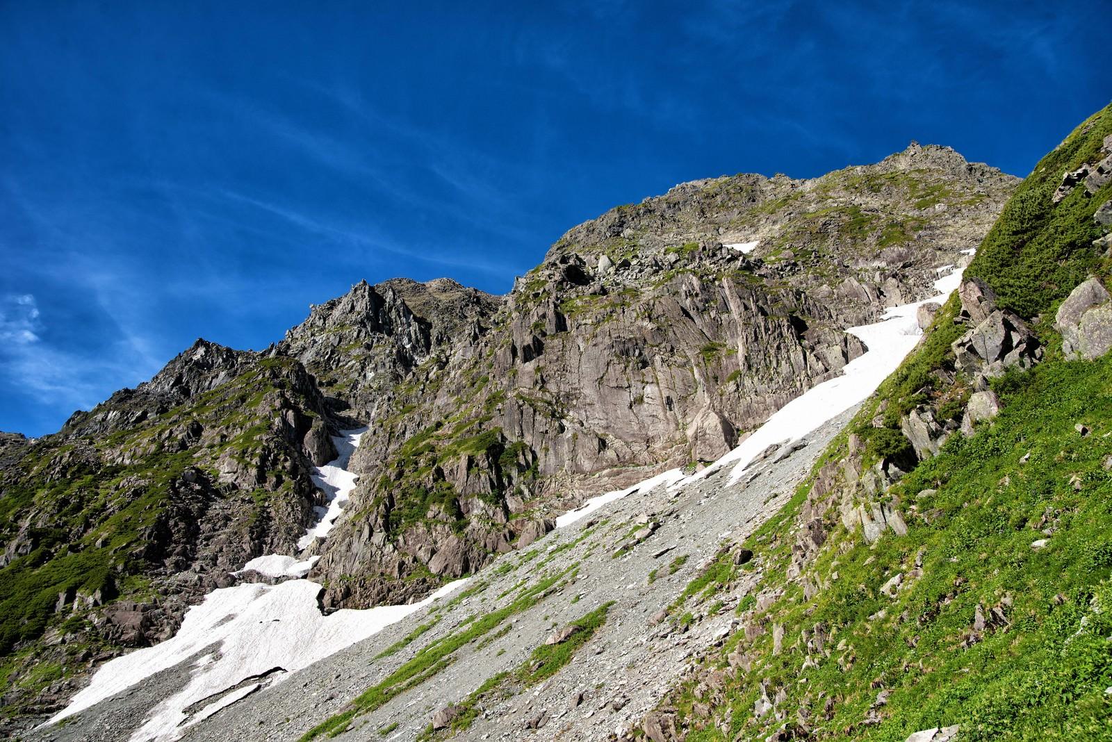 「奥穂高岳の岩壁」の写真