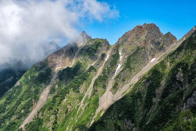 急峻な斜面と穂高の稜線の写真