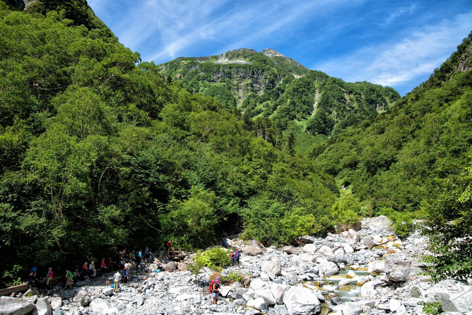 「本谷橋の水場に集まる登山者」の写真