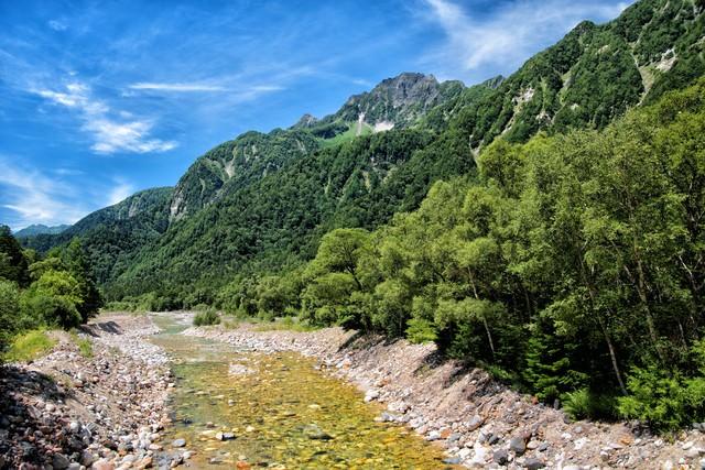 梓川から見る明神岳の眺めの写真