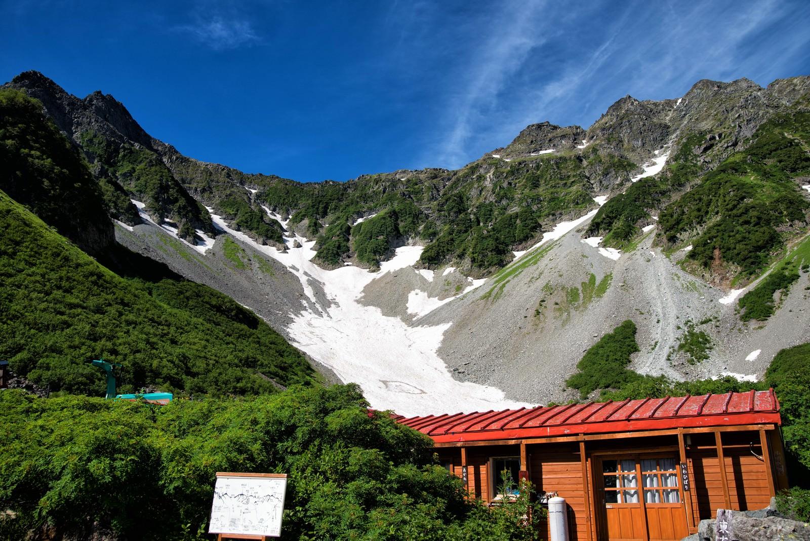 「涸沢にある雪渓が見える診療所(いわひばり)」の写真