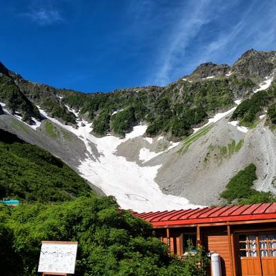 涸沢にある雪渓が見える診療所(いわひばり)の写真