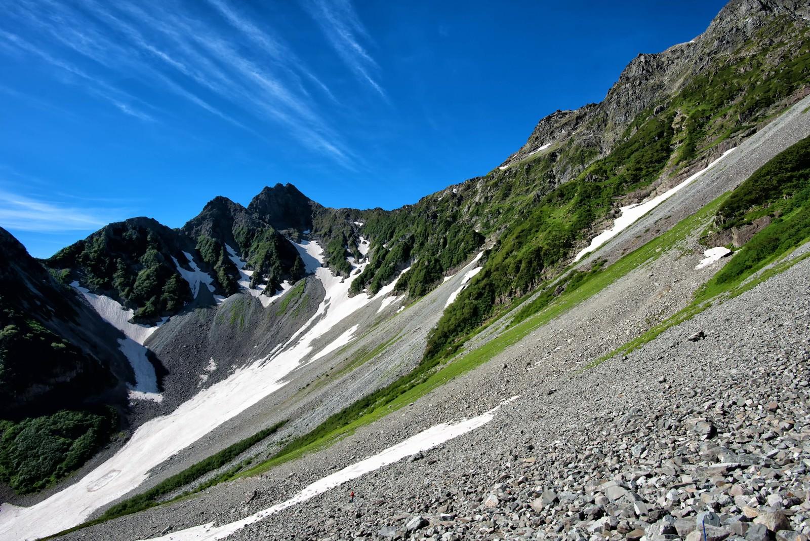 「涸沢の斜面に続く青い空」の写真