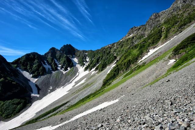 涸沢の斜面に続く青い空の写真