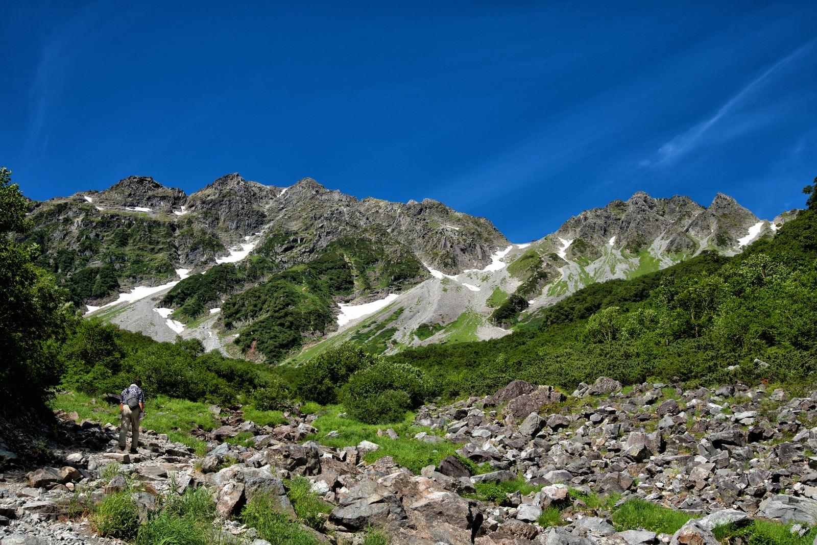 「涸沢カールに挑む登山者」の写真