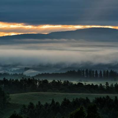 朝霧に包まれる美瑛町の朝焼けの写真