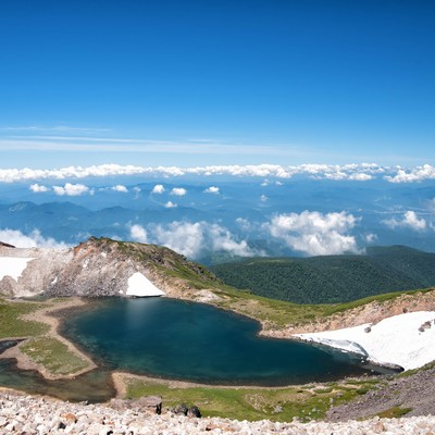 権現池から望む大パノラマの写真