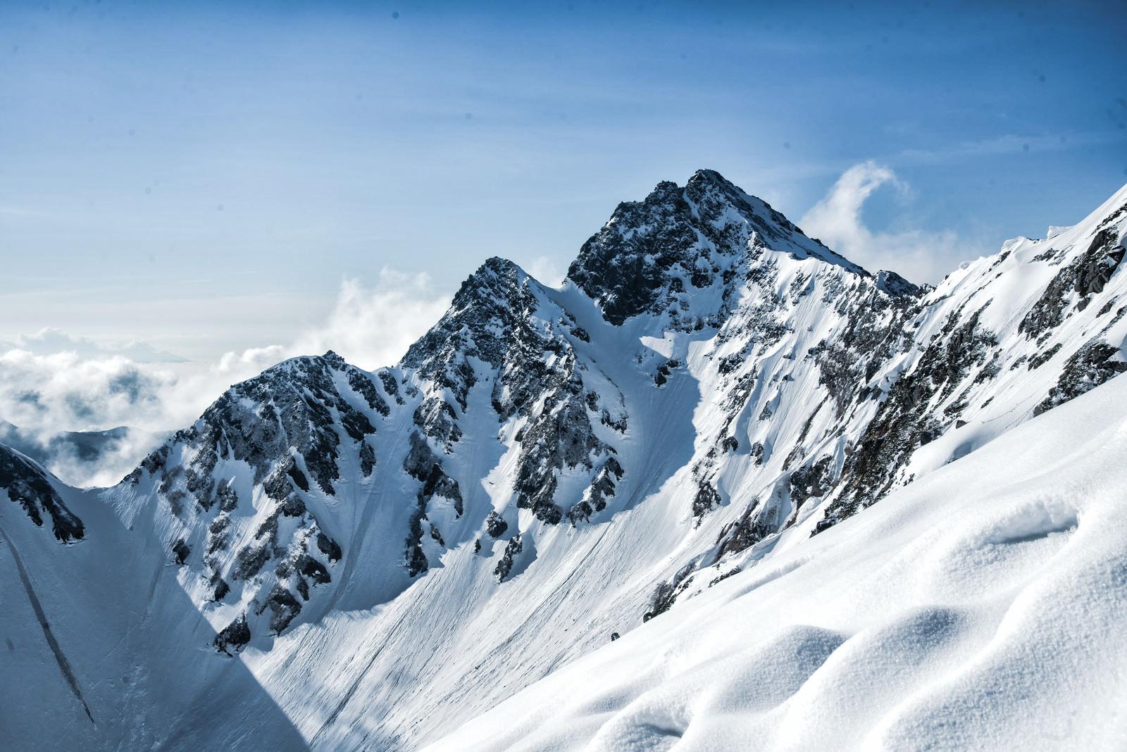 「残雪と前穂高岳」の写真