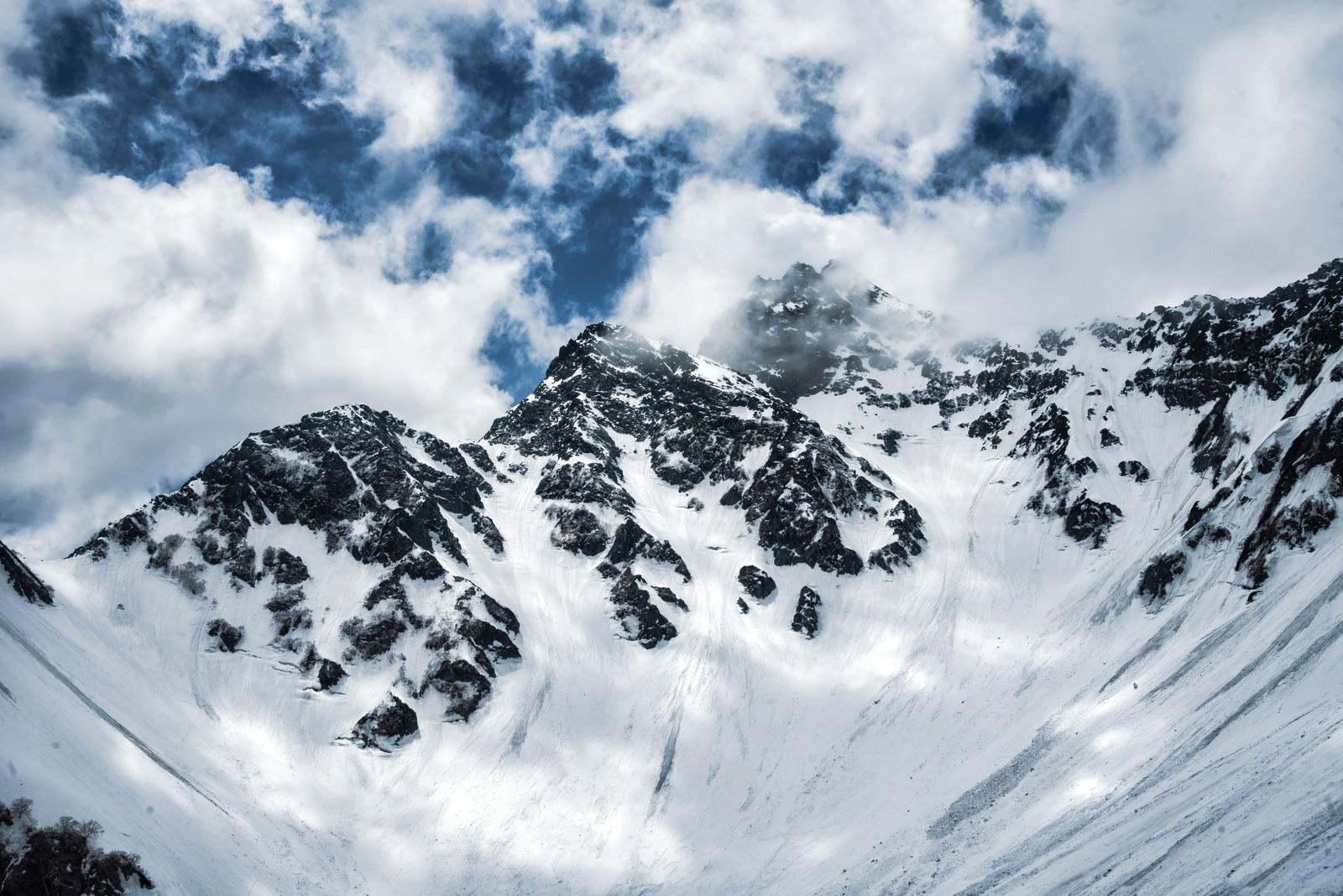 「前穂高岳にかかる雲(北アルプス)」の写真