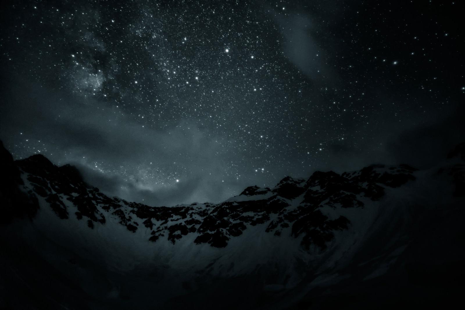 「奥穂高岳と満点の星空(飛騨山脈)」の写真