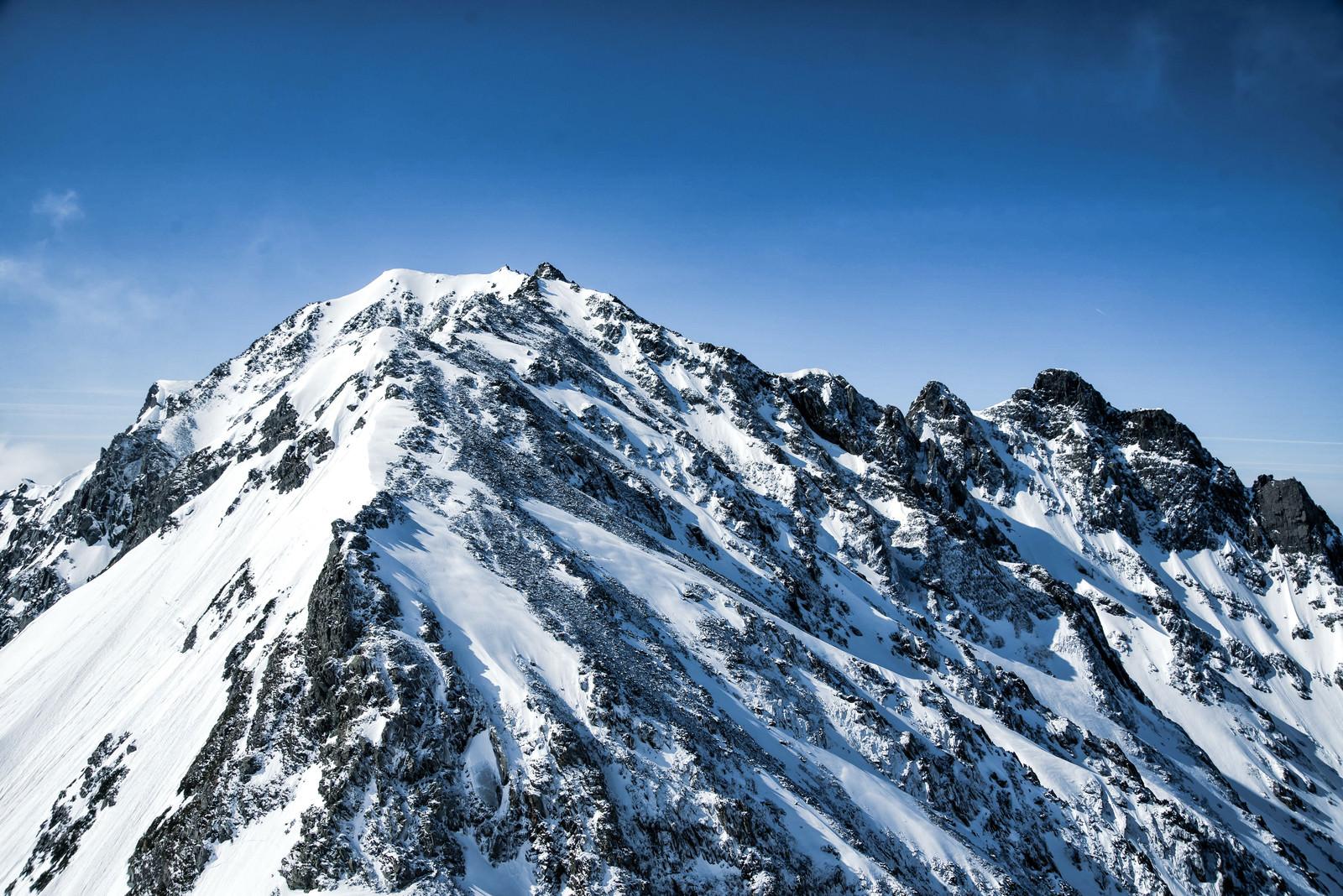 「奥穂高岳への道のりとジャンダルム(飛騨山脈)」の写真