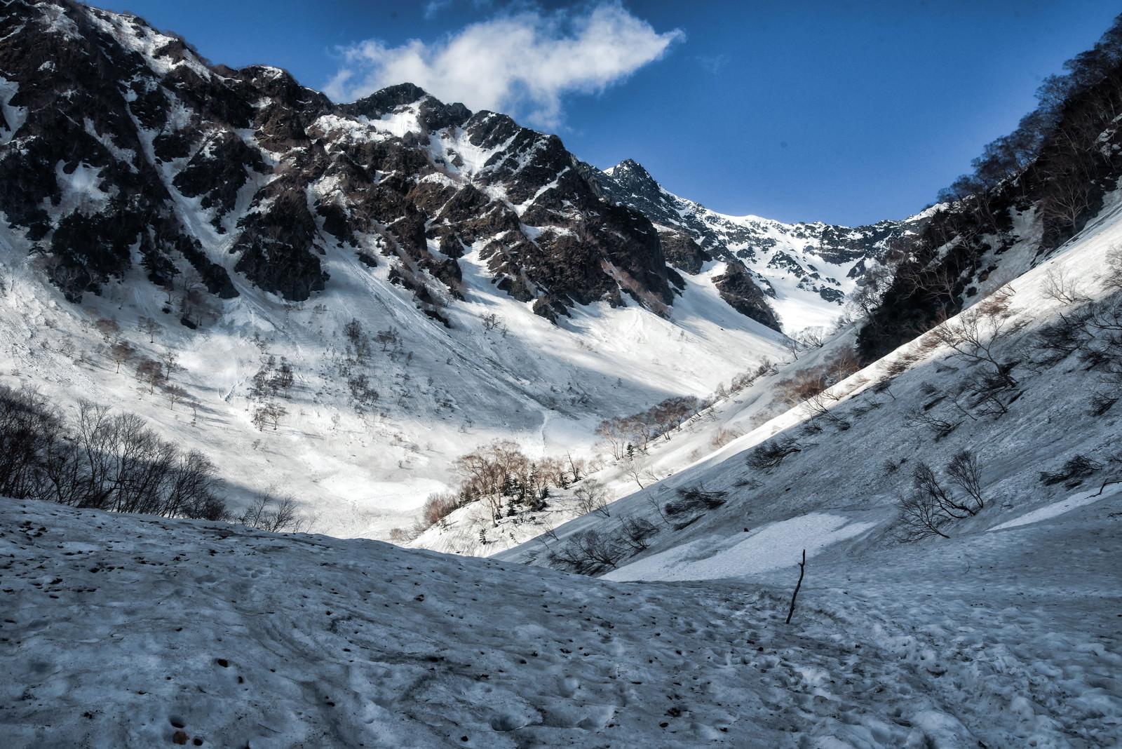 「雪解け残雪期の涸沢への道のり」の写真
